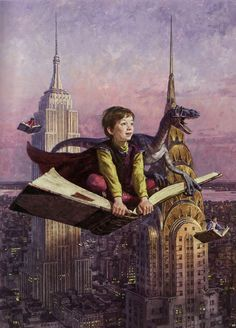 By James Gurney, of Dinotopia fame. Flying by book - what a fabulous idea!