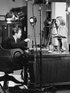 """James Stewart and Jean Arthur on the set of """"Mr. Smith Goes to Washington,"""" 1939."""
