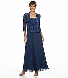 KM Collections Lace Jacket Dress #Dillards