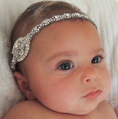 -Baby girl christening headpiece, flower girl headband, baby headband, communion, baptism headband, flower girl headpiece