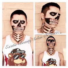 Full face skeleton makeup
