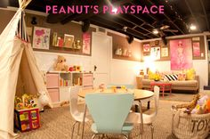 There's so much to love here: the painted exposed basement ceiling, fun playspace, cute details...want!