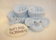 Crocheted Elephant Baby Booties from Pitter Patter Baby Gifts