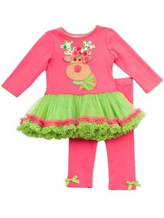 Girls Christmas - Hot Pink Reindeer Tutu Legging Set