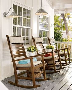 #Porch #Decorating Ideas: Wooden rocking chairs are perfect for visiting with the neighbors on the front porch. via Decorating Files rocker, rocking chairs, decorating ideas, outdoor, hous, porch decorating, rock chair, garden, front porches