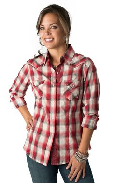 Roper® Women's Red, Black and Cream Plaid Long Sleeve Western Shirt