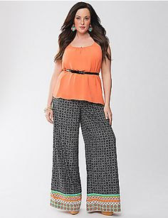 Lane Collection Print Palazzo Pant by Lane Bryant | Lane Bryant
