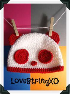 Crochet Panda Beanie  / Child hat /  Photo Props / Etsy Baby / Crochet Bebe / Handmade gift ideas. $25.00, via Etsy.