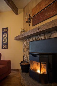Pellet Stove, stone, wood beams