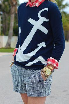 Gingham, tweed, + an anchor