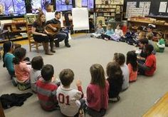 Mountaineer Montessori School junior elementary students participate in songwriting workshop with Chuck and Mira.