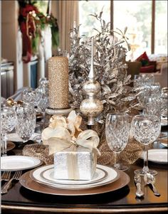 We love this silver and gold Christmas table.