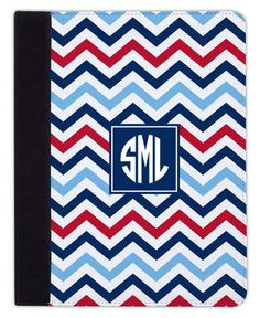Chevron Blue and Red iPad Cover