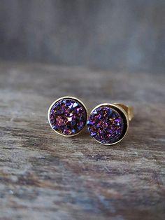 Plum Druzy Studs in Yellow Gold, Purple Glitter Bezel Studs, Druzy Earrings, Glitter Studs, Purple Gold Earrings