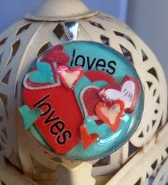 Handmade pendant  aqua blue red 'loves' large resin by meesshh, $20.00