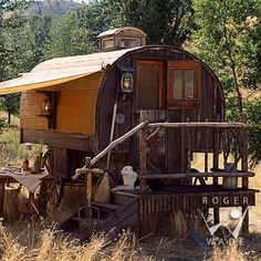 gypsy wagon and border collie