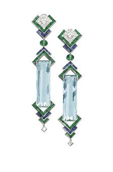 A PAIR OF UNIQUE AQUAMARINE, EMERALD, SAPPHIRE AND DIAMOND EAR PENDANTS, BY PRINCE DIMITRI Of geometric design, each elongated rectangular-cut aquamarine weighing 39.44 and 37.41 carats bordered by calibré-cut emerald and sapphire arrow-shaped motifs, suspended from a diamond, sapphire and emerald similarly-designed surmount, mounted in platinum