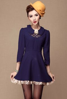 Blue Lapel Long Sleeve Lace Applique Dress