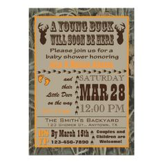 Orange Hunting Camo Baby Shower Invitations