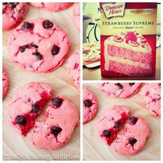 Strawberry Chocolate Chip Cookies ~ So yummy... You'll literally ask yourself HOW on earth a cookie this good can start from a box. Well, it does ツ