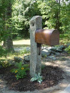 Copper mailbox, granite post.