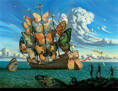 butterfli, vladimir kush, vladimirkush, dream, ship, sail away, salvador dali, artist, butterfly wings