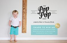 Handmade, engraved, wooden growth chart rulers from The Pop Pop Shop + Emily Ley, $90
