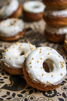 Gingerbread Donuts with White Chocolate Cinnamon Glaze