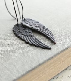Black Wing Earrings Long Dangle Dark Patina by apocketofposies