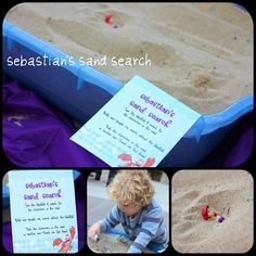 10 little mermaid figurines in the sand, and kids got to hunt for them
