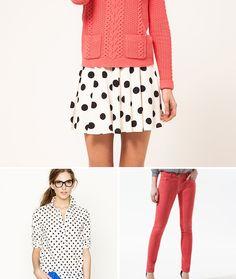coral & polka dots! skirt, polka dots, color combo, spring style