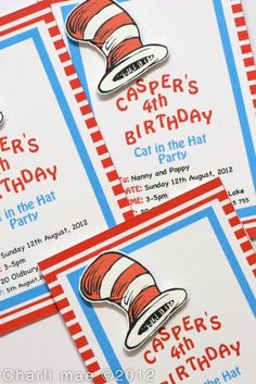 Cat in the Hat Party Invitations #catinthehat #invitation