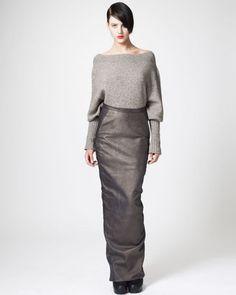 ShopStyle: Rick OwensMetallic Maxi Pencil Skirt