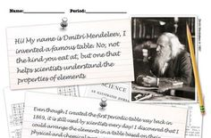 Periodic table, Dmitri Mendeleev PowerPoint, student notes, worksheet, teacher keys, additional resources!