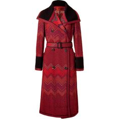 MISSONI Red Multi Color Zigzag Belted Coat ($1,005) ❤ liked on Polyvore