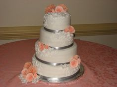 Peach and gray Wedding Cake