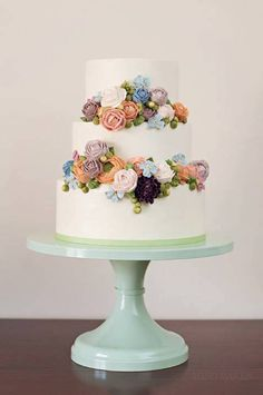 Colorful Buttercream Cascading Floral Cake