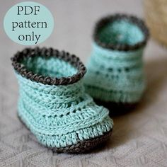 Crochet PATTERN (pdf file) - Knit-look Baby Boots