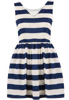 Blue White Striped V Neck Chiffon Dress