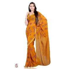 Mustard chiffon saree -- Be the cynosure of all eyes when you adorn this Mustard shade saree featuring zari lining pallu and rich embellished border. Body part of georgette saree features lovely floral embroidery all over. $47