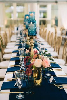Sage Nines luxury wedding at Cheekwood with velvet navy table runner, gold flatware, blush and burgunday florals