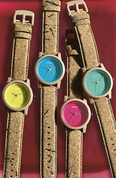 SPROUT™ Watches Color Dial Cork Strap Watch, 38mm | Nordstrom