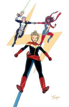Modern Marvels. (Or, Make Mine McKelvie.) - Kamala Khan, Carol Danvers, and Noh Varr by dean trippe