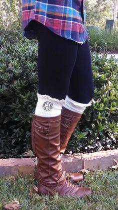 Monogrammed Crochet Lace Boot Socks Leg Warmers by tinytulip