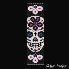 Sugar Skull 4-Peyote Bracelet Cuff