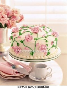 Cake decorated with roses