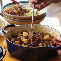 Pork and Pumpkin Stew by williamssonoma: 'The house smells amazing while it's cooking! It is the perfect recipe for a dinner party. It impresses everyone and you don't have to miss the party because you're cooking dinner. Just get it in the oven before everyone comes and you're all set!' #Stew #Pork #Pumpkin