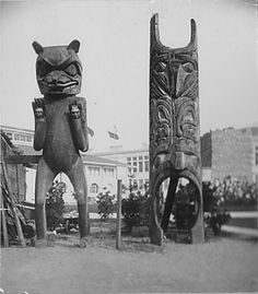 Kwakwaka'wakw or Kwakiutl Native American Totemic Statues, World's Columbian Exposition, Chicago, IL (1893). Photograph taken by Charles Francis Himes while at the World's Columbian Exposition in Chicago in 1893. From the Charles Francis Himes Family Papers. Archives and Special Collections. Dickinson College, Carlisle, PA. Via Flickr.