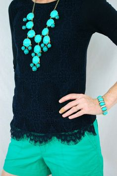 black lace top + turquoise shorts & accessories In love with this outfit.
