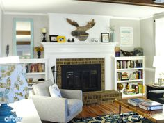 I like the short bookcases instead of tall built-ins